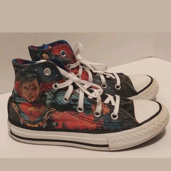 Boys Superman Converse High Tops Size 2